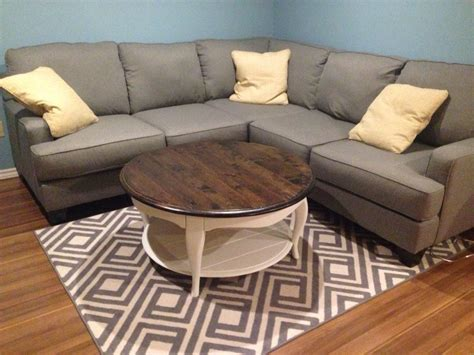 "Modern interior designs with rustic coffee table ideas must be super clean, minimalistic and futuristic. Rustic round coffee table painted with Fusion paint in ""Casement"" 