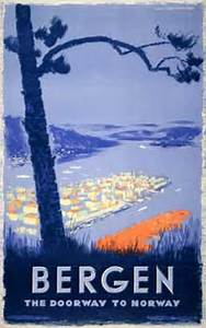 Printed Invoice Original Vintage Poster Bergen The Doorway To Norway