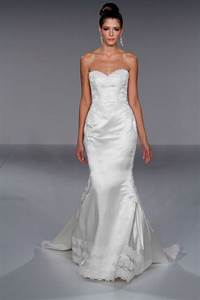 White satin fitted mermaid wedding dress with romantic for Satin fitted wedding dress