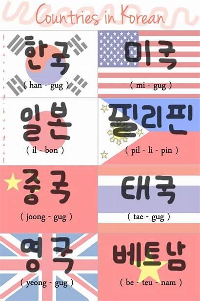 Korean Alphabet Words Korea Flag Language Countries
