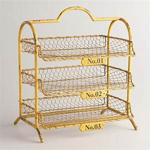 yellow austin 3 tier wire tray world market With 3 tier letter file bin