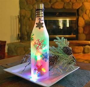 Wine, Bottle, Light, Snowflakes, Christmas, Decoration, 23, 00, Via, Etsy