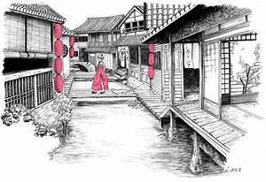 Maison Japonaise Dessin : maison japonaise dessin du japon et des fleurs ~ Melissatoandfro.com Idées de Décoration