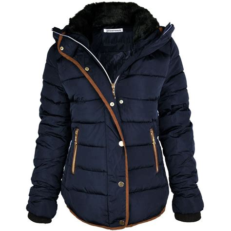 womens quilted puffer bubble padded jacket fur collar