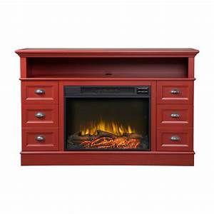 Flamelux Bremen Red Media Electric Fireplace Console The