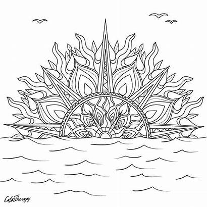 Sunset Mandala Coloring Pages Therapy Colorfy Sheets