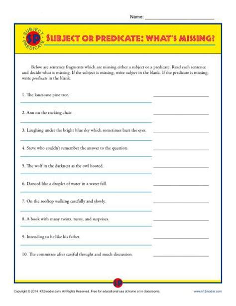 subject or predicate what s missing printable worksheet
