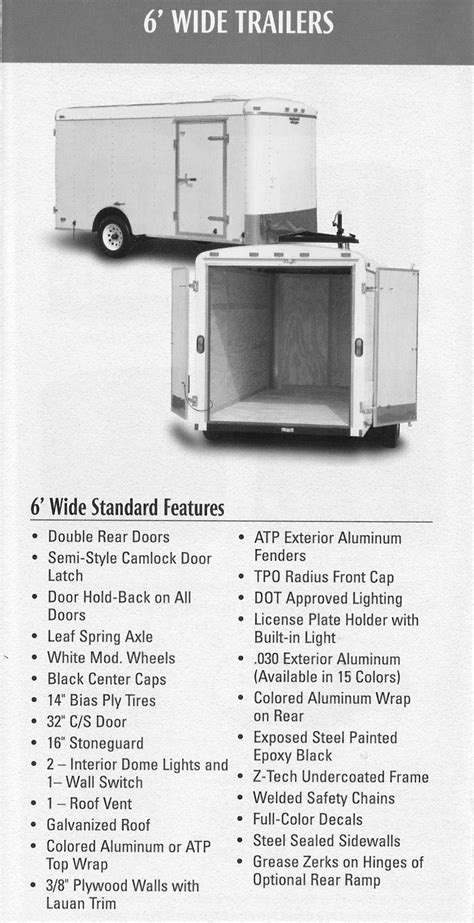 Tail Wind 6' Standard Features and Specs