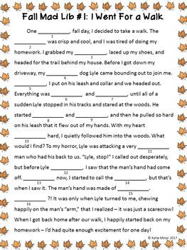 fall themed mad libs nouns verbs  adjectives