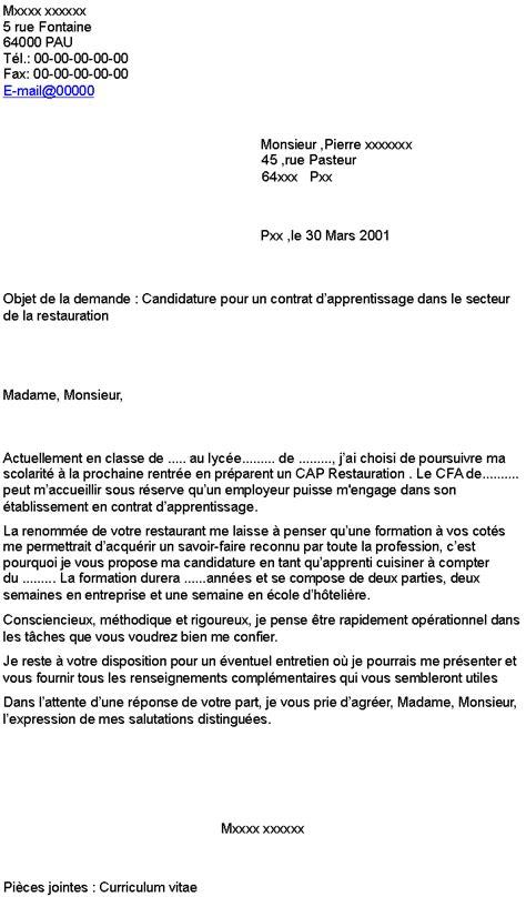 contrat d apprentissage cuisine lettre de motivation apprentissage cuisine 100 images