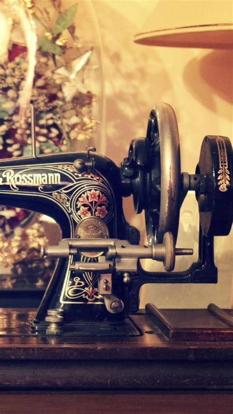 retro sewing machine table iphone   wallpaper