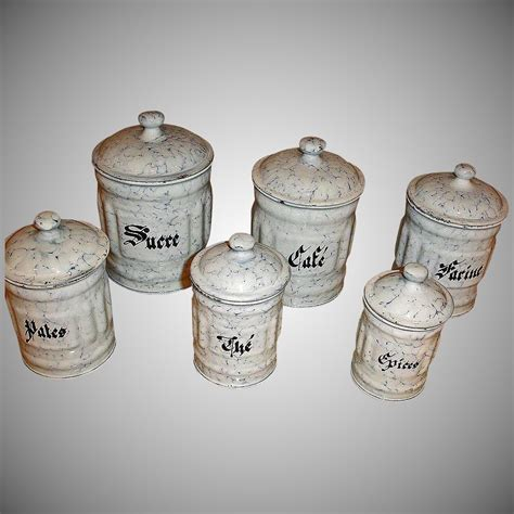 6 Canisters   Snow On The Mountain Enamelware   Vintage