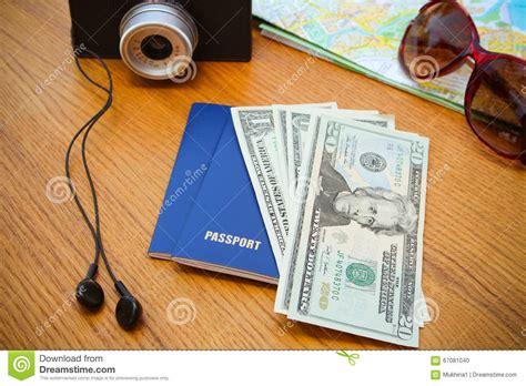 Travel Set Passport Money Camera Road Map Sunglasses
