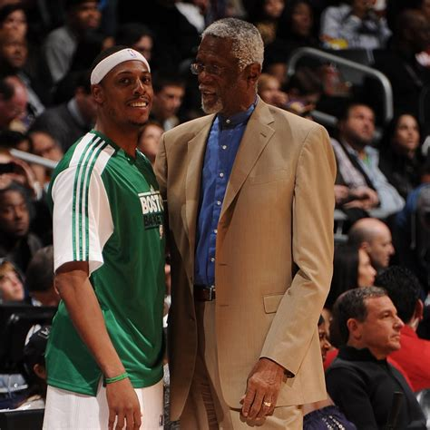 bill russell congratulates paul pierce  celtics jersey retirement bleacher report