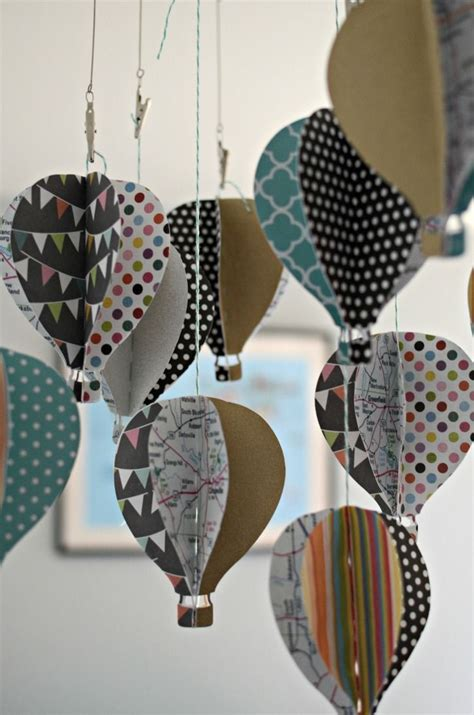 diy paper  hot air balloon baby mobile crafty