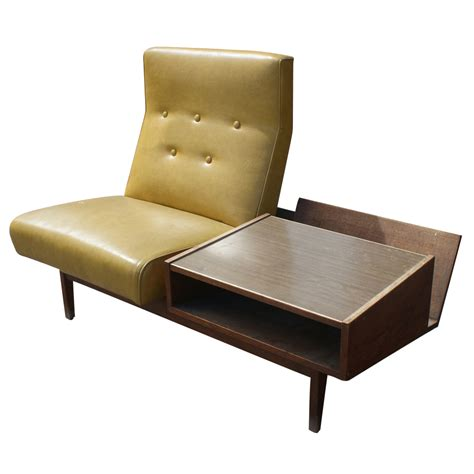 Mid Century Modern Lounge Chair With Side Table Ebay