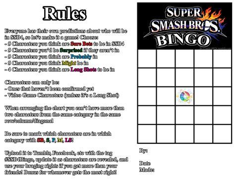 Favorite Character Bingo Template Ssb4 Bingo Template Smash Bros Character