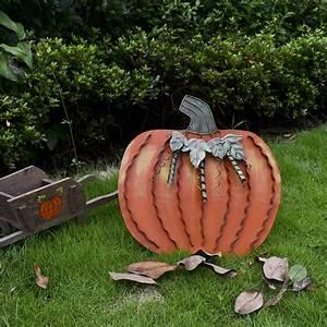 Metal, Fall, Pumpkin, Decor, Indoor, Outdoor, Standing, Flat, Pumpkin, Decoration, For, Autumn, Harvest