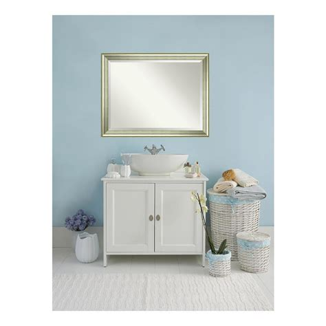Home Depot Bathroom Vanity Mirrors by Amanti Vegas Curved Silver Wood 45 In W X 35 In H
