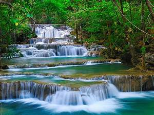 Tropical, Cascade, Waterfall, In, Kanchanaburi, Thailand, Nature, Forest, Green, Turquoise, Water, Rocks