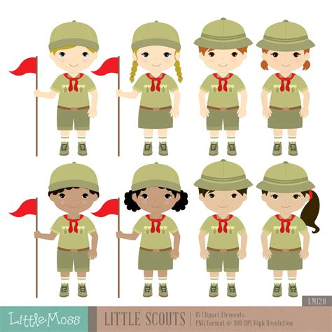 Little Scouts Digital Clipart Boy Scouts Clipart Girl Scouts