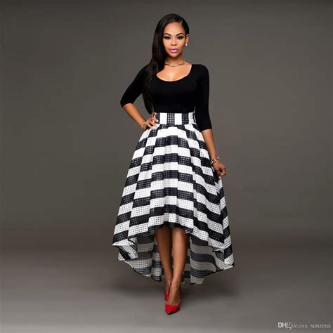 Women Black And White Dresses Ankle Length High Low Dress