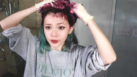 My New Hair Color Dyeing From Green To Purple Youtube