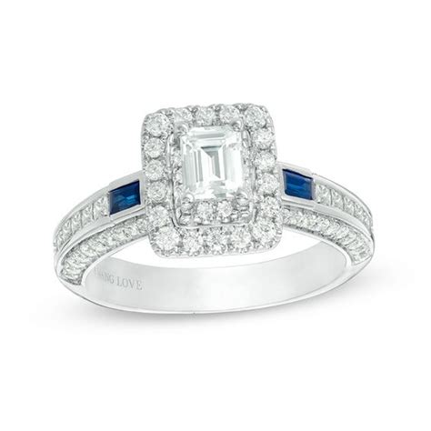 vera wang love collection 1 20 ct t w emerald cut diamond and blue sapphire engagement ring in