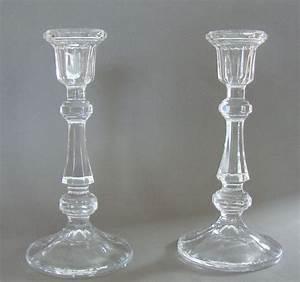 Fabulous Pair Of Art Deco Pressed Glass Candlesticks