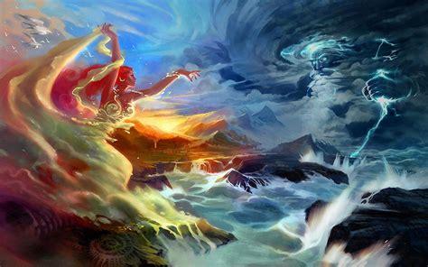 Fantasy Art Gods Battle Women Wallpaper 1920x1200