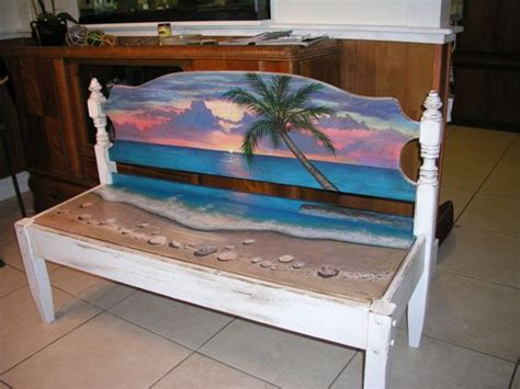 Upcycled Hand Painted Beach Bench Head Board Bench By