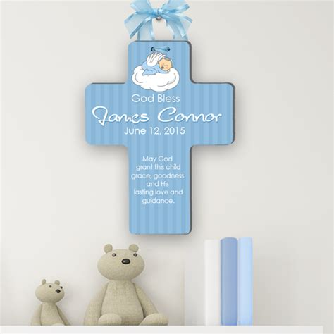 personalized christening cross bless  child baptism