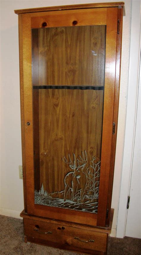 wood gun cabinet with deer etched glass wood gun cabinet with deer etched glass cabinets design