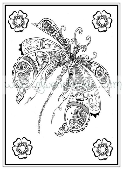 adult colouring    dragonfly henna zen mandalas