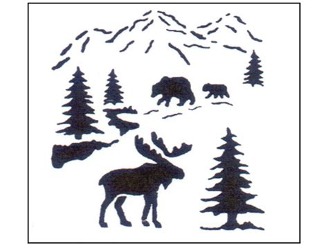 Stensource Stencil Bear Moose Pine Trees North Woods Painting