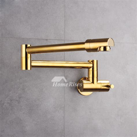 industrial kitchen faucet wall mount silvergold brushed