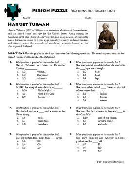 Person Puzzle  Fractions On A Number Line  Harriet Tubman Worksheet  Civil War Era