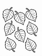 Leaves Leaf Coloring Printable Pages Template Fall Autumn Thanksgiving Trees Seasonal sketch template