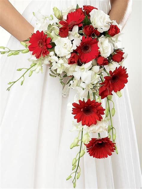 crimson gerbera orchid shower bridal bouquet