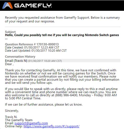 asked gamefly  theyll  carrying switch games