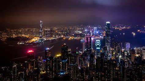 hong kong skyscrapers night view  wallpaper