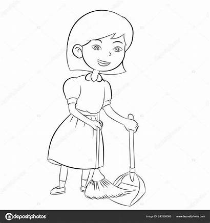 Casa Colorir Menina Vassoura Varrendo Sweeping Limpieza