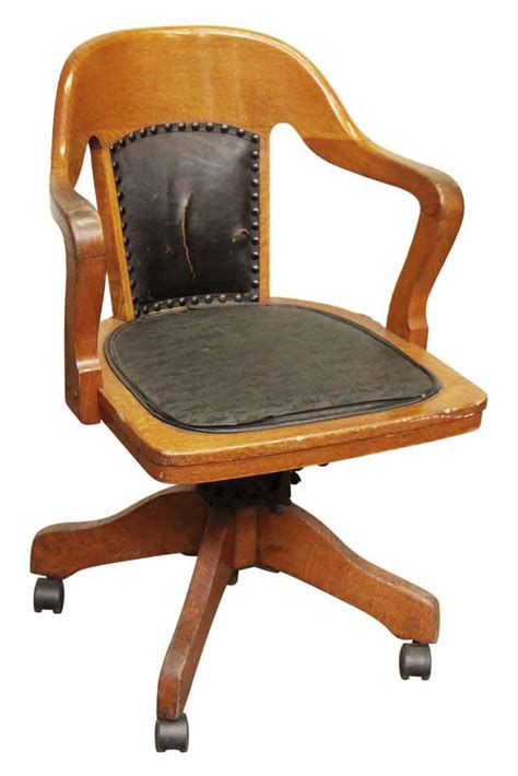 wooden rolling desk chair with vinyl olde things