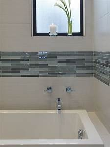 Contemporary bathroom backsplash best of pin by emily for Elegant horizontal glass tile backsplash
