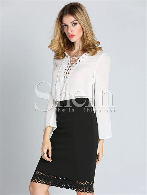 up blouse white sleeve lace up blouse shein sheinside