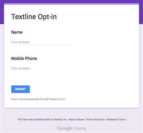 google forms sign up how to create a textline sign up form using google forms