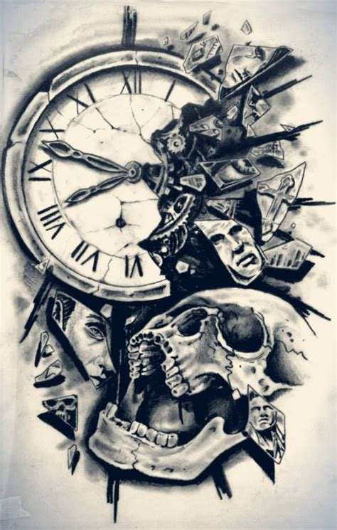 clock  skull tattoo design httptattoobitercom