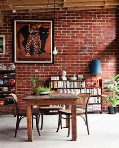 Interior Designs : Stylish Black Exposed Brick Wall Living ...