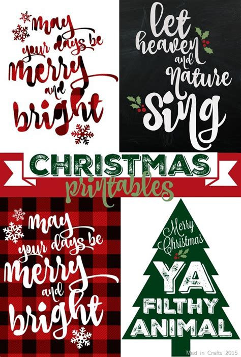 Sparkly & Plaid Christmas Printables  Mad In Crafts