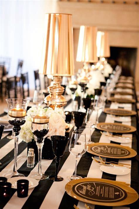 glamorous black white  gold wedding  sequin